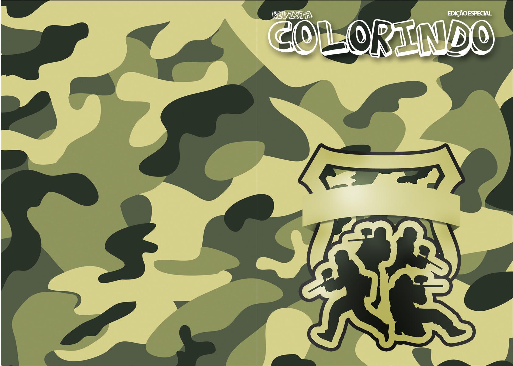 Revista Colorindo Kit Militar Camuflado