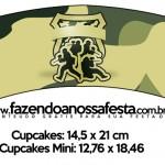 Saias Wrappers para Cupcakes 2 Kit Militar Camuflado