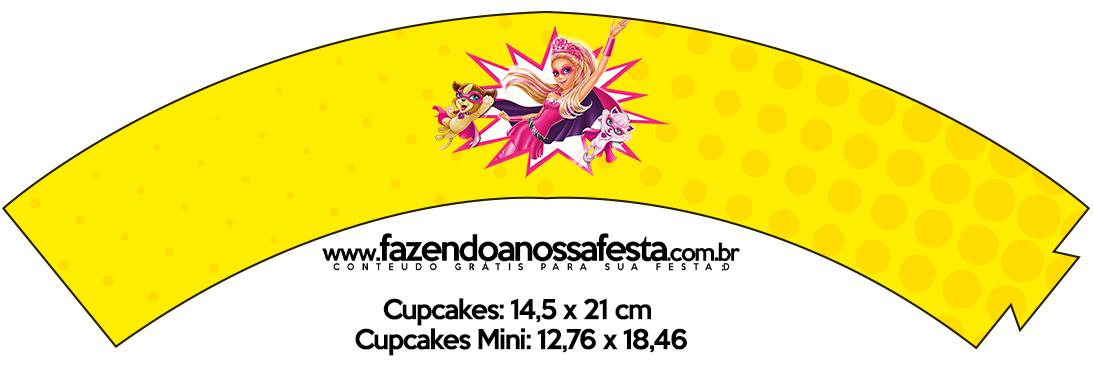 Saias Wrappers para Cupcakes Barbie Super Princesa Rosa