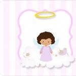 Tag Agradecimento deitada Batizado Anjinha Afro
