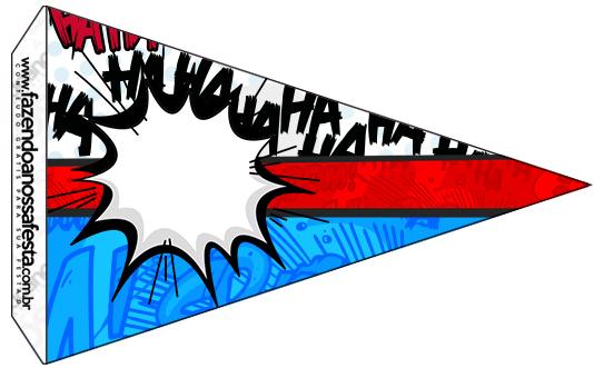 Bandeirinha Sanduiche 7 Minions Super Herois Fazendo A Nossa Festa