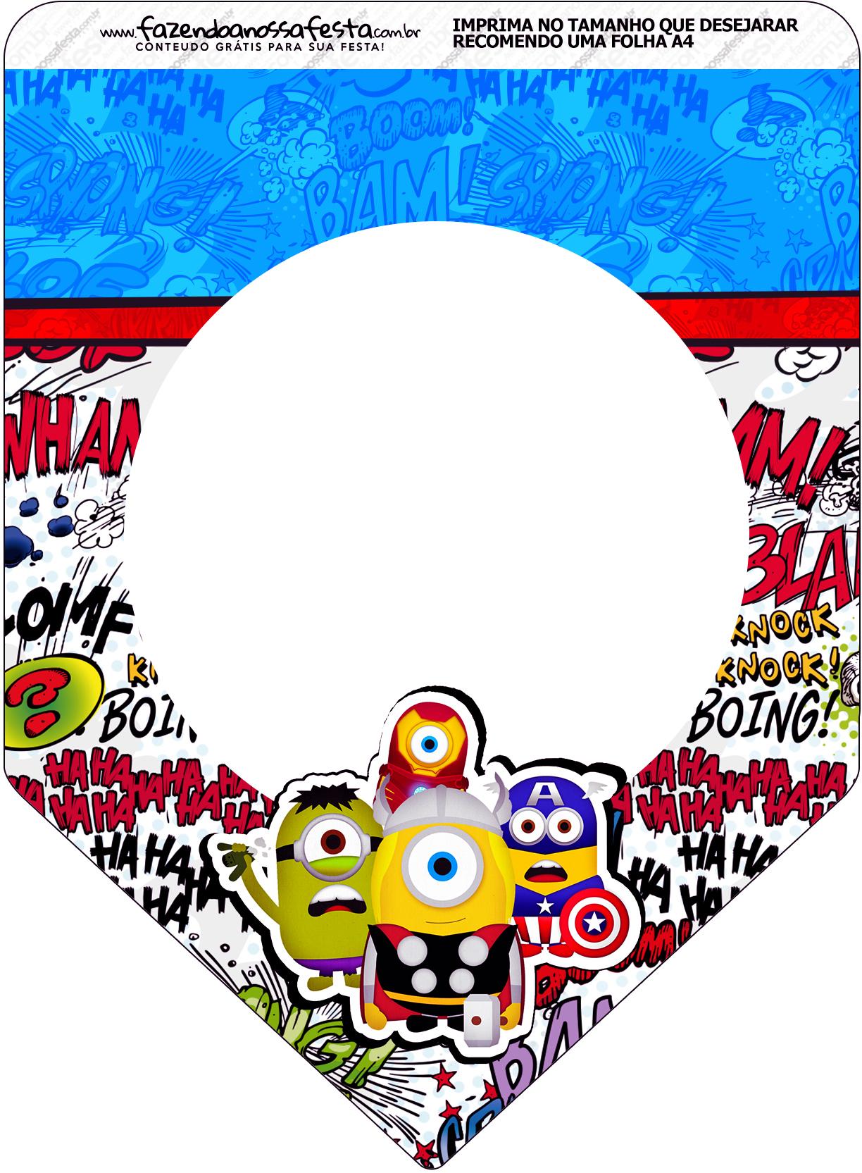 Bandeirinha Varalzinho Minions Super Herois Fazendo A Nossa Festa