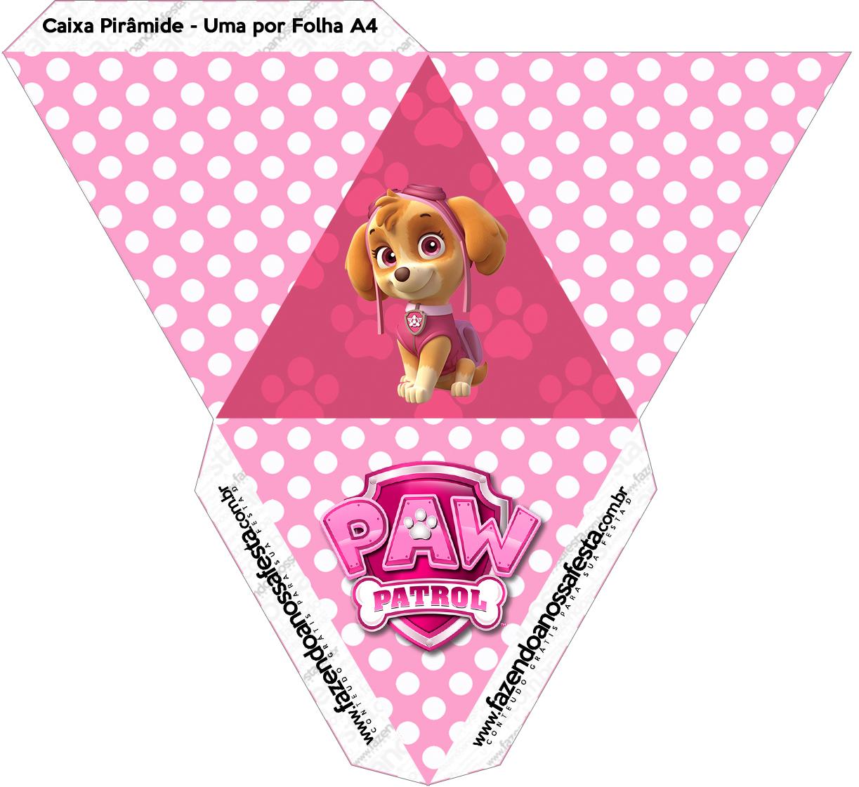 Caixa Piramide 2 Patrulha Canina Para Meninas Fazendo A Nossa Festa