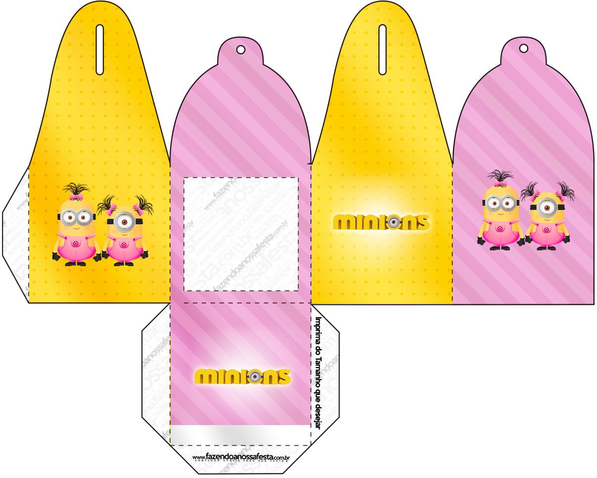 Caixa com Foto Minions para Meninas