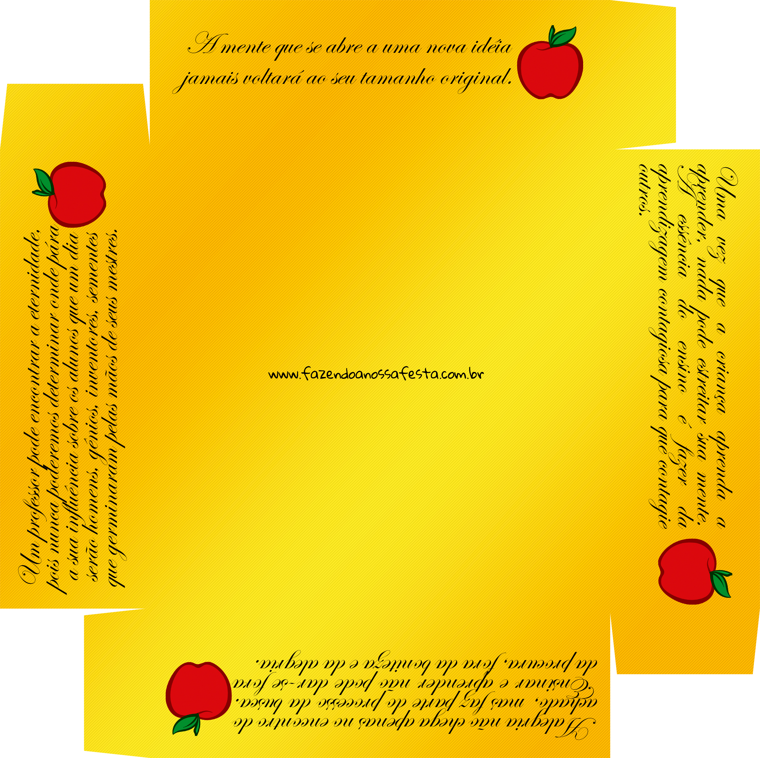 Caixa de Bombom Dia dos Professores Melhor Professor Coruja Maça Mensagens Amarelo - Fundo