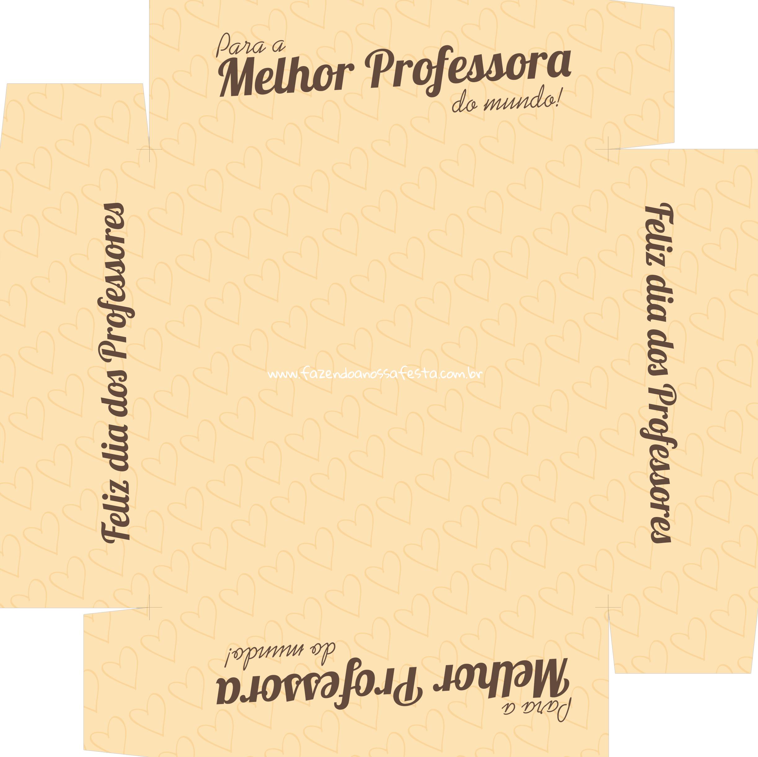 Caixa de Bombom Dia dos Professores Melhor Professora Coruja Amarelo - Fundo