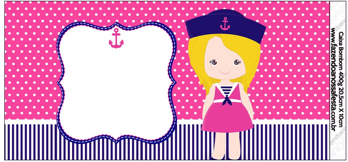 Caixa de bombom rótulo Menina Marinheira Loira