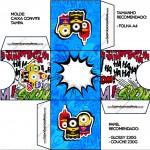 Convite Caixa Tampa Minions Super-Heróis