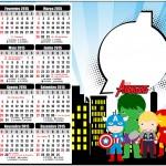 Convite Calendário 2015 2 Kit Festa Vingadores Cute