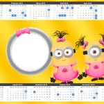 Convite Calendário 2015 2 Minions para Meninas