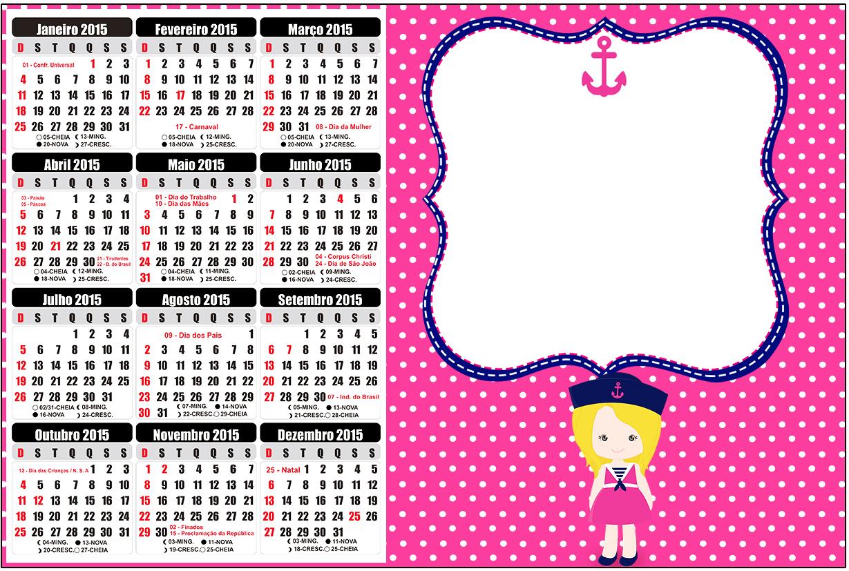 Convite Calendário 2015 Menina Marinheira Loira