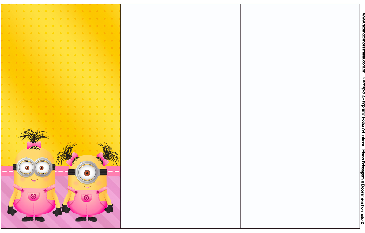 Convite, Cardápio ou Cronograma em Z Minions para Meninas
