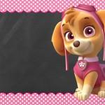Convite Chalkboard Patrulha Canina para Meninas