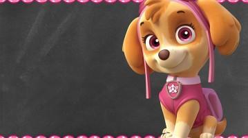 Convite Chalkboard Patrulha Canina para Meninas Modelo