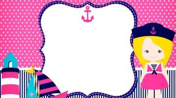 Convite Menina Marinheira Loira - Modelo