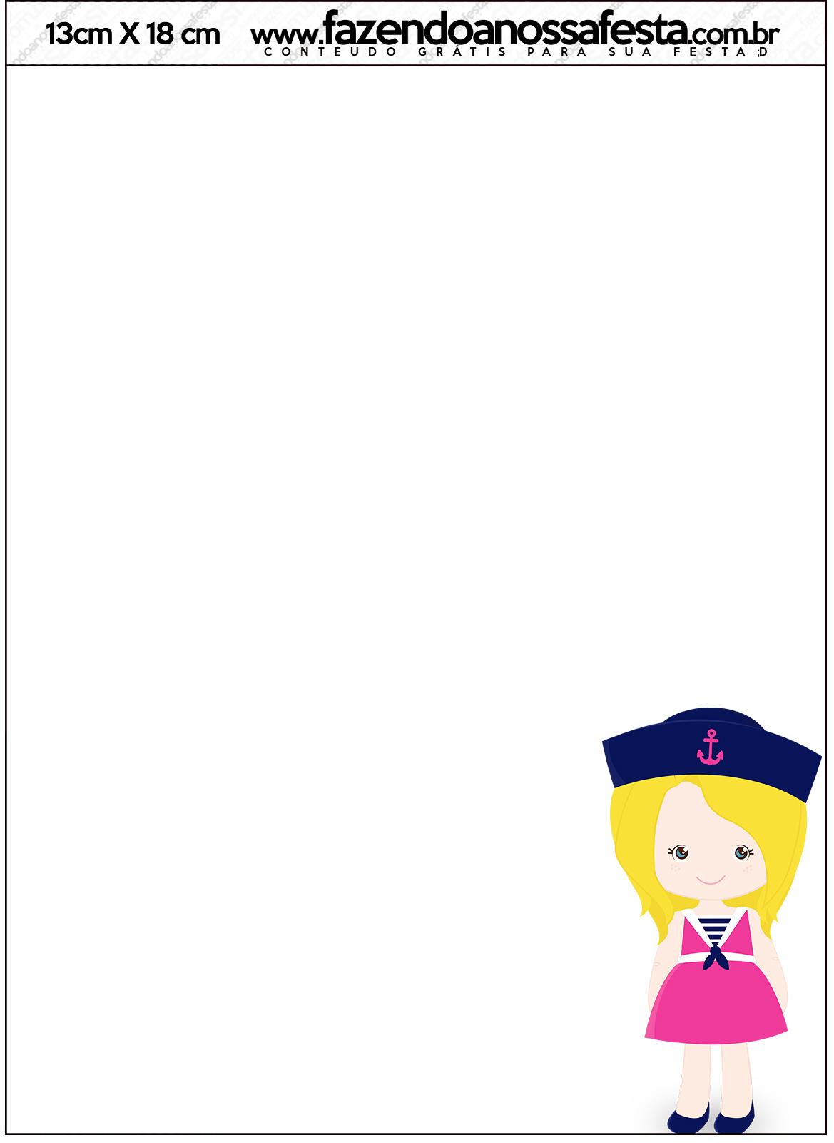 Convite com Envelope Menina Marinheira Loira
