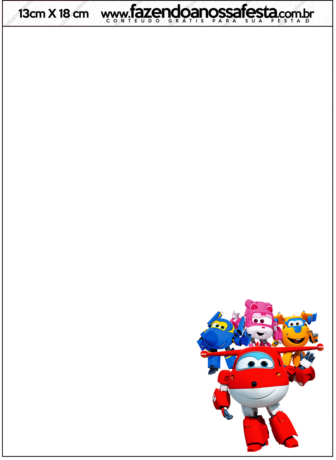Convite com Envelope Super Wings