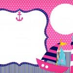 Convite ou Cartão Menina Marinheira Loira