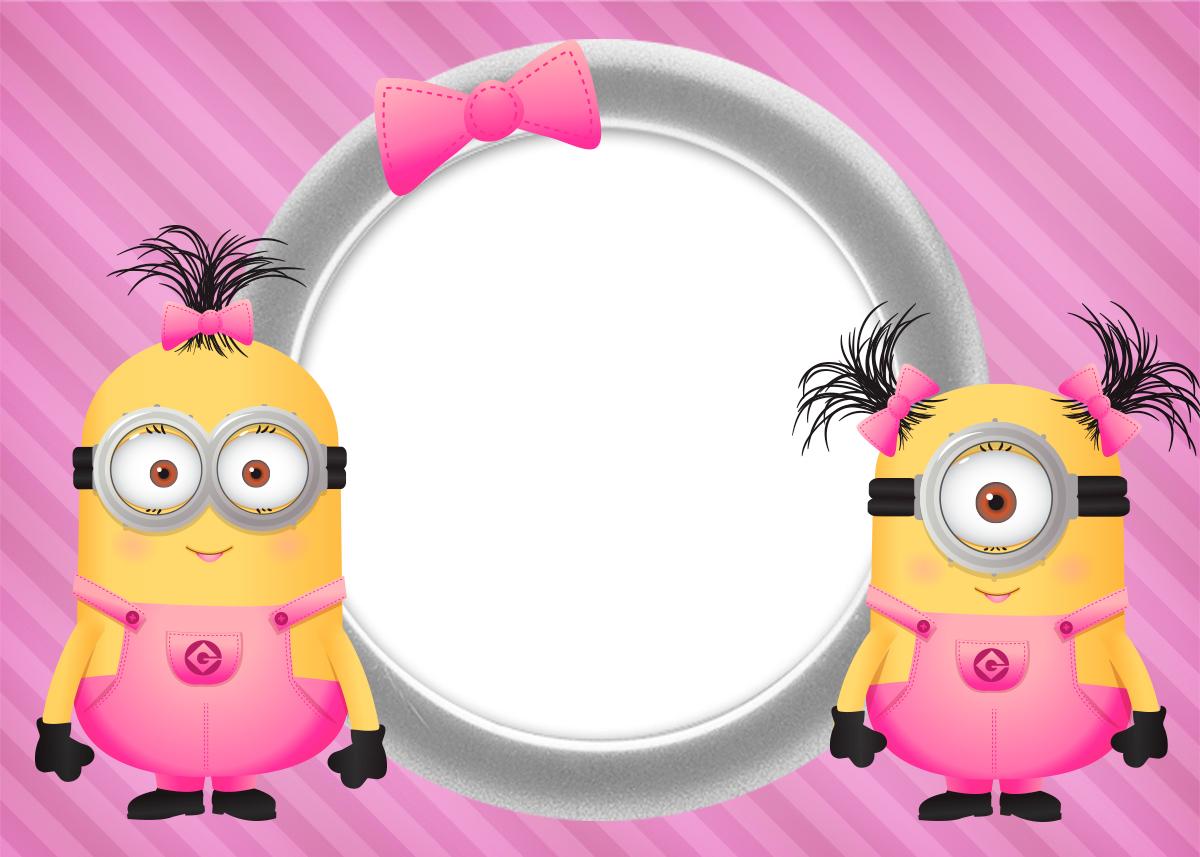 Convite ou Cartão Minions para Meninas 2