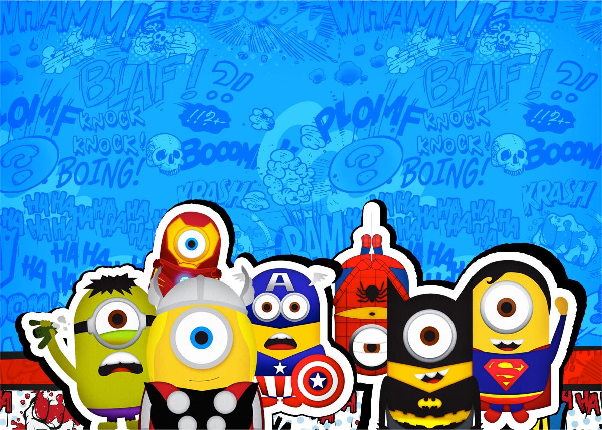Convite Para Festa Minions Super Herois Fazendo A Nossa Festa