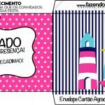 Envelope Cartão Agradecimento Menina Marinheira Loira