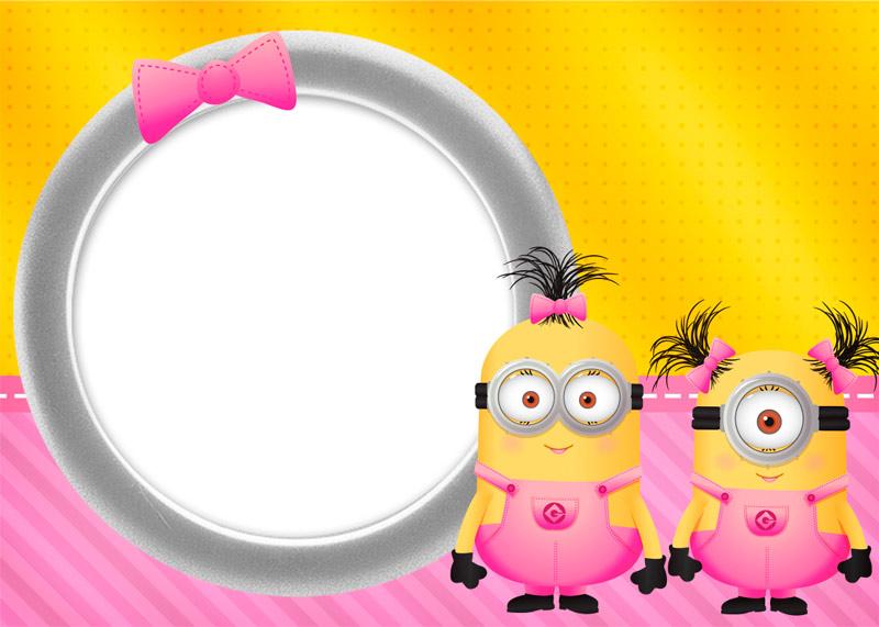 Kit Digital Minions para Meninas Convite