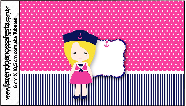 Rótulo Tubetes Menina Marinheira Loira