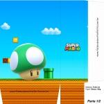 Sacolinha Lembrancinha Super Mario 1up Cogumelo Verde A4 - Parte 1