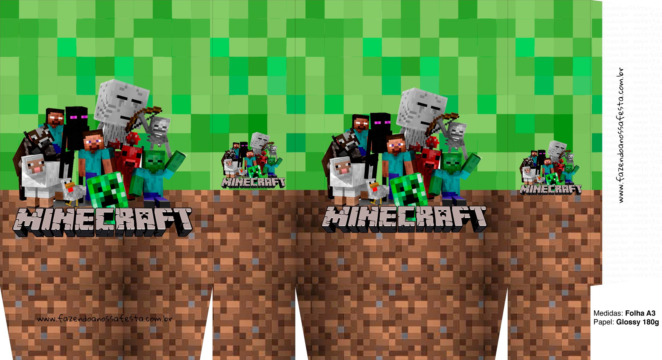Letras Minegraft Fazendo A Nossa Festa: Sacolinha Surpresa Minecraft A3 2