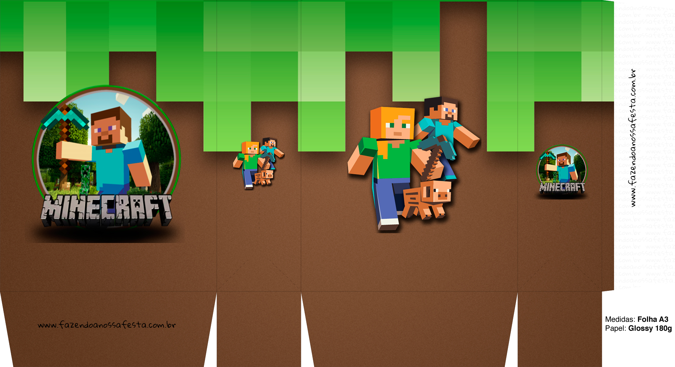 Letras Minegraft Fazendo A Nossa Festa: Sacolinha Surpresa Minecraft A3 5