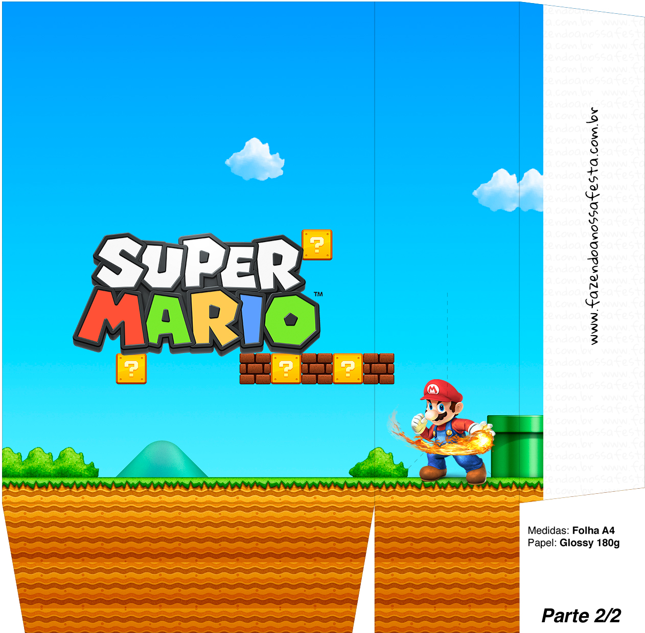 Sacolinha Surpresa Super Mario Bola de Fogo A4 - Parte 2