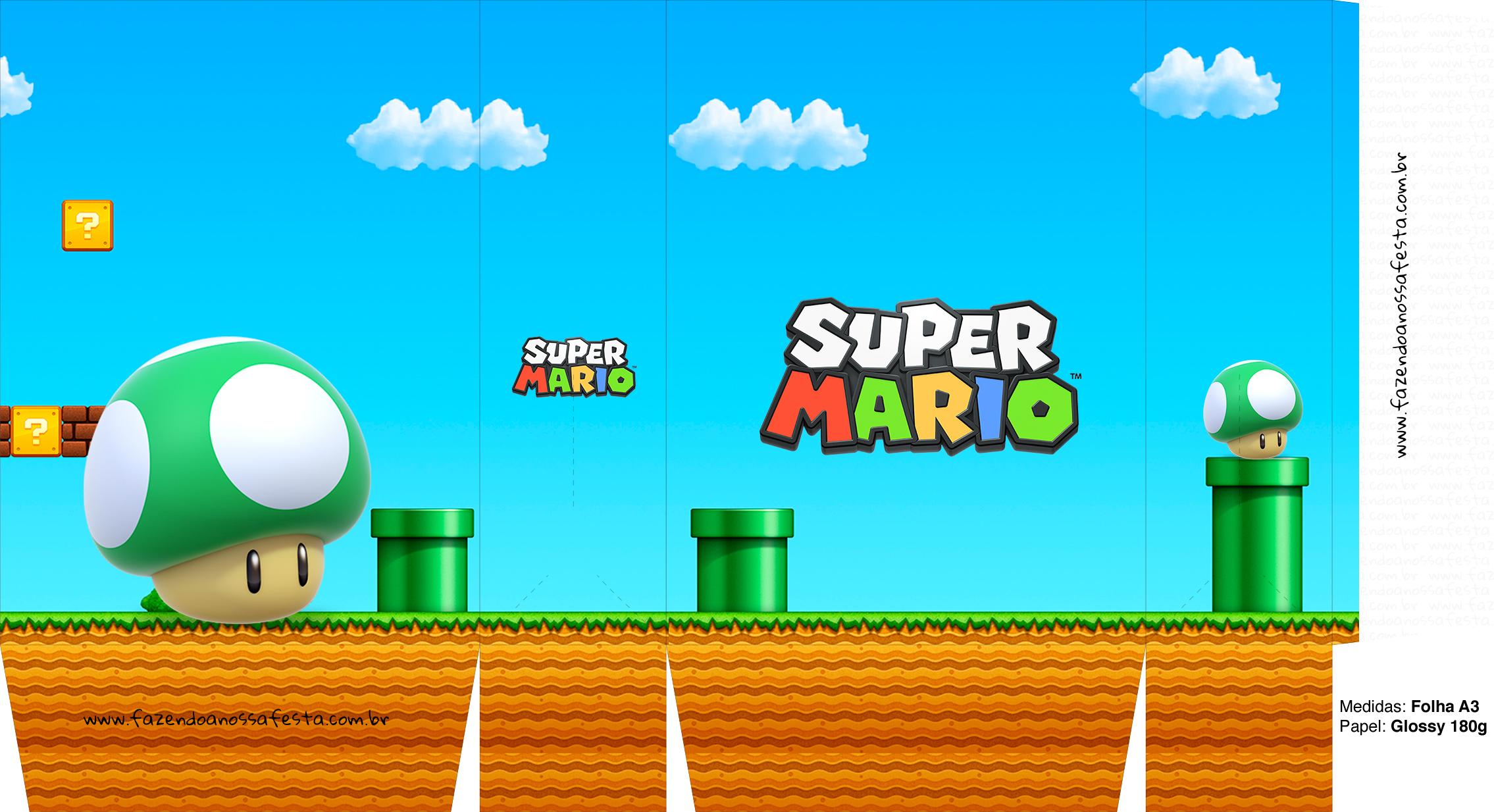 Sacolinhas Super Mario 1up Cogumelo Verde A3