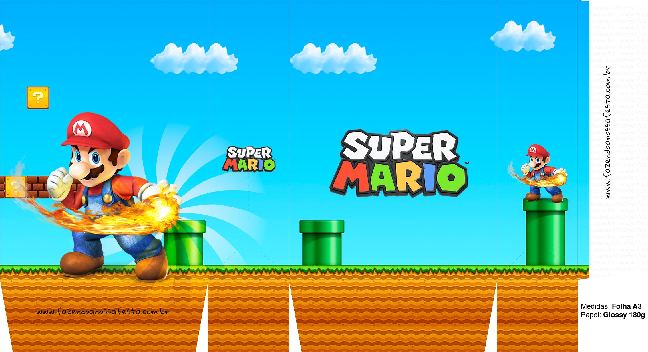 Sacolinhas Super Mario Bola de Fogo A3