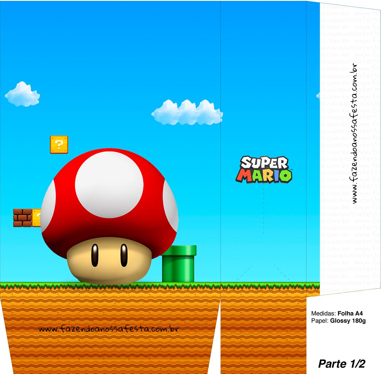 Sacolinhas Super Mario Cogumelo Vermelho A4 - Parte 1