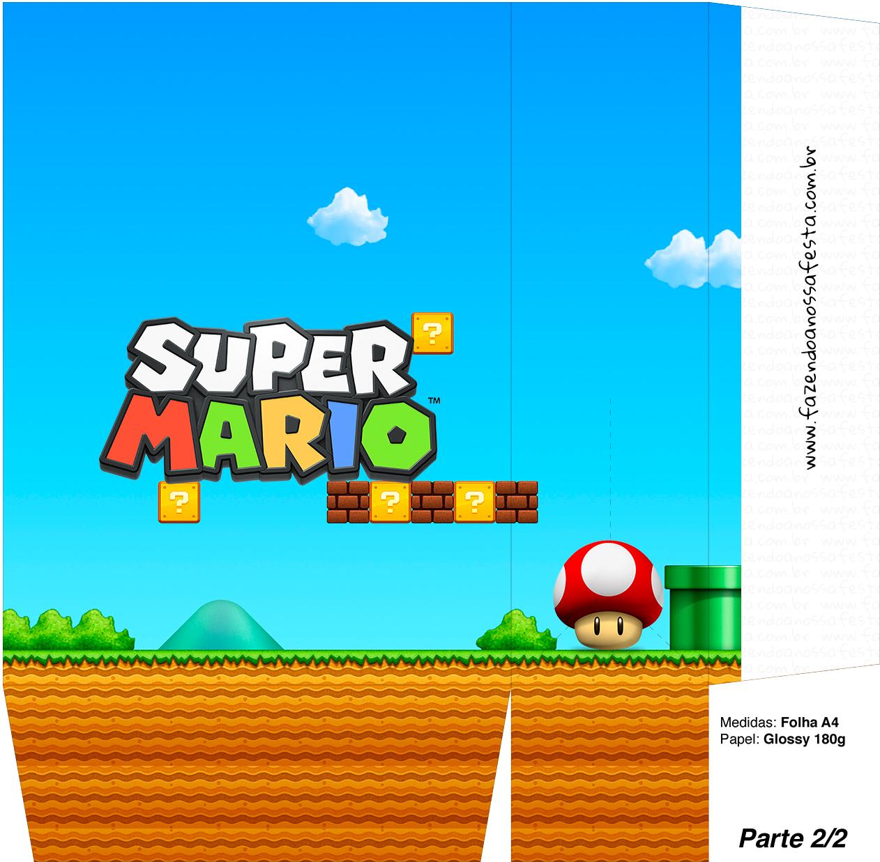 Sacolinhas Super Mario Cogumelo Vermelho A4 - Parte 2
