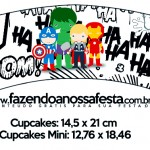 Saias Wrappers para Cupcakes Kit Festa Vingadores Cute