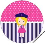 Toppers para Cupcakes Menina Marinheira Loira