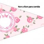 Bandeirinha Sanduiche 2 Coroa de Princesa Rosa Floral