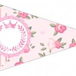 Bandeirinha Sanduiche 3 Coroa de Princesa Rosa Floral