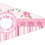 Bandeirinha Sanduiche 4 Coroa de Princesa Rosa Floral