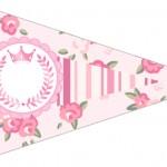 Bandeirinha Sanduiche 5 Coroa de Princesa Rosa Floral