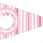 Bandeirinha Sanduiche 6 Coroa de Princesa Rosa Floral