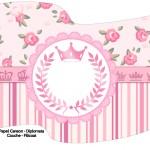 Bandeirinha Sanduiche Coroa de Princesa Rosa Floral