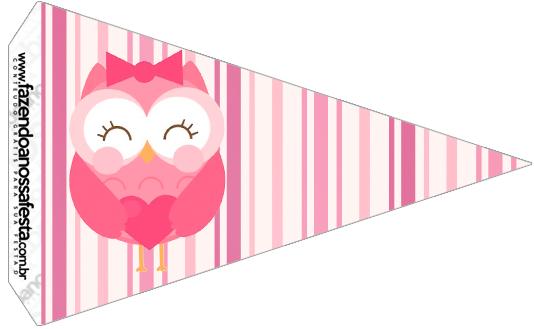Bandeirinha Varalzinho Dia dos Professores Corujinha Rosa