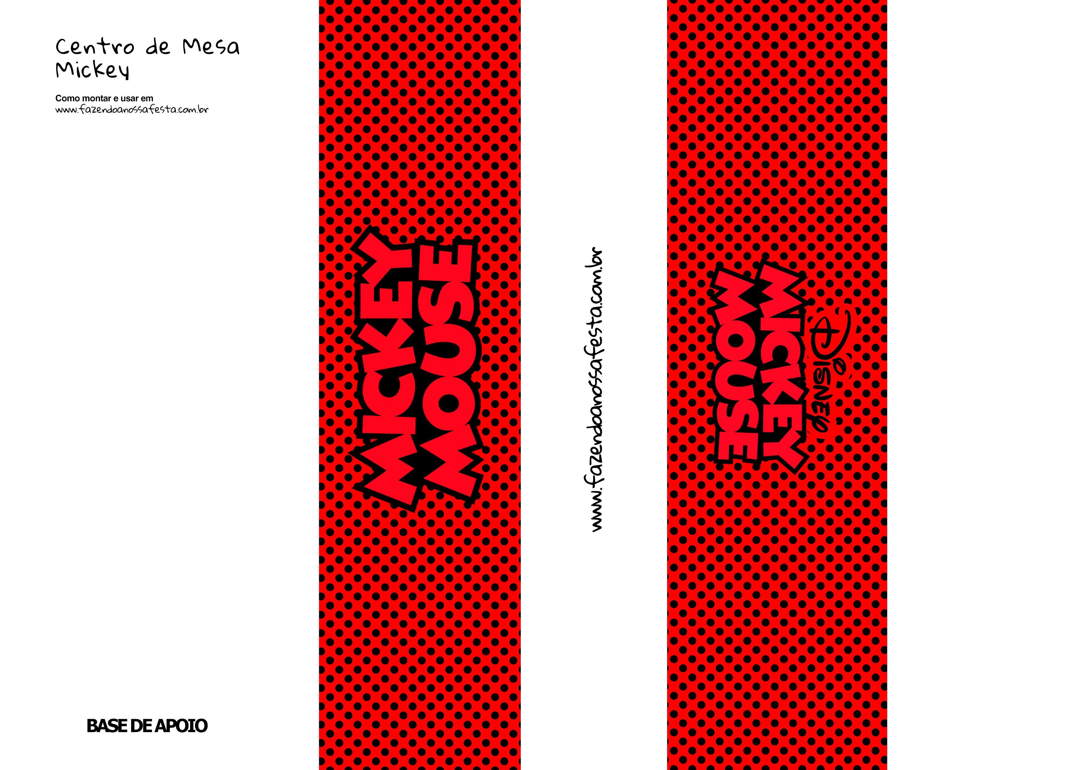Base de Apoio Mickey Vermelho Centro de Mesa Toten 2