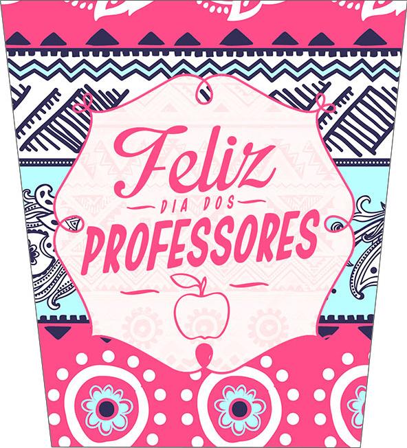 Bisnaga Flip Top Dia Dos Professores Coruja Rosa e Azul