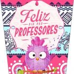 Bisnaga Flip Top para Hidratante Dia Dos Professores Coruja Rosa e Azul