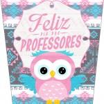 Bisnaga Flip Top para Sabonete ou Hidratante Dia Dos Professores Coruja Rosinha e Azul