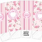 Caixa Pipoca Coroa de Princesa Rosa Floral