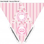 Caixa Pirâmide Coroa de Princesa Rosa Floral